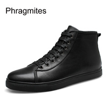 цены Phragmites Ankle Boots For Women Big Size Women Shoes Fashion All-match Black Unisex Winter Boots Genuine Leather Ankle Boots