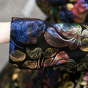 Image 5 - マルチカラー花柄黒本革トレンチコート本物のラムスキンレザーコート生き抜くプラスサイズ casacos LT1892 無料船