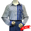Plus Size Dark Blue White Contrast Stripped Blouse 4XL 5XL Oversized Womens Tops Chemise Femme Blusas