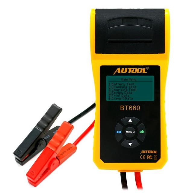 AUTOOL BT-660 Car Battery Tester with Built-in Printer Analyzer for Flooded, AGM,...