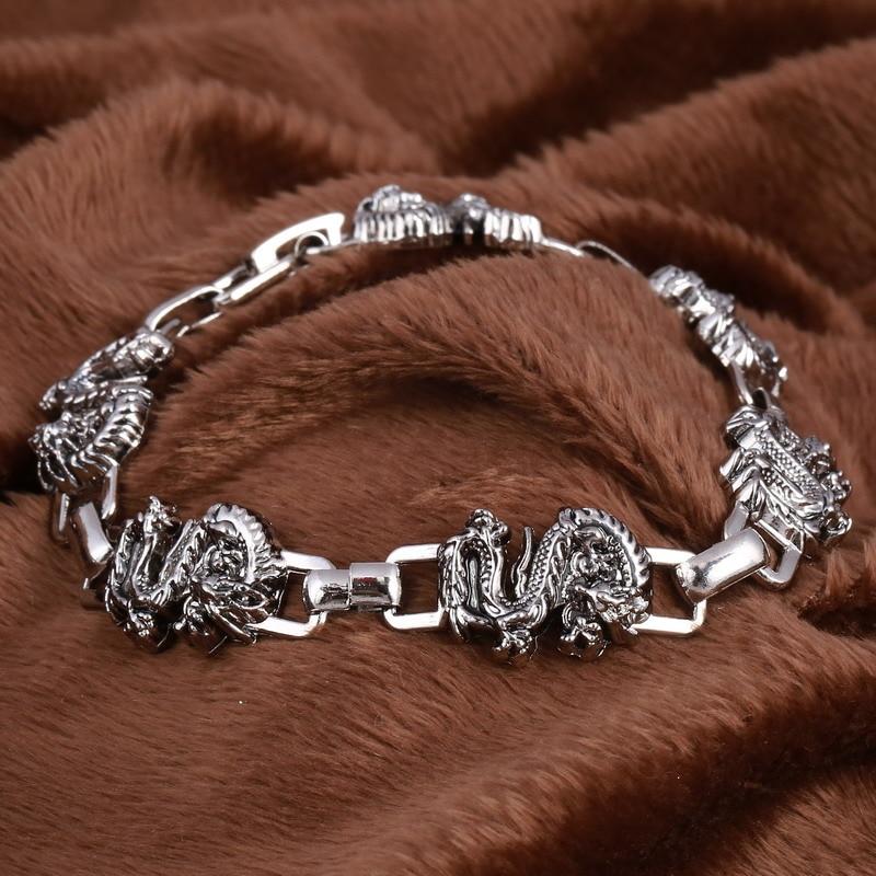 Handmade Retro Stainless Steel Charm Dragon Bracelet Men Vintage Uni Bracelets Women Bangles Male Punk Jewelry In Chain Link From