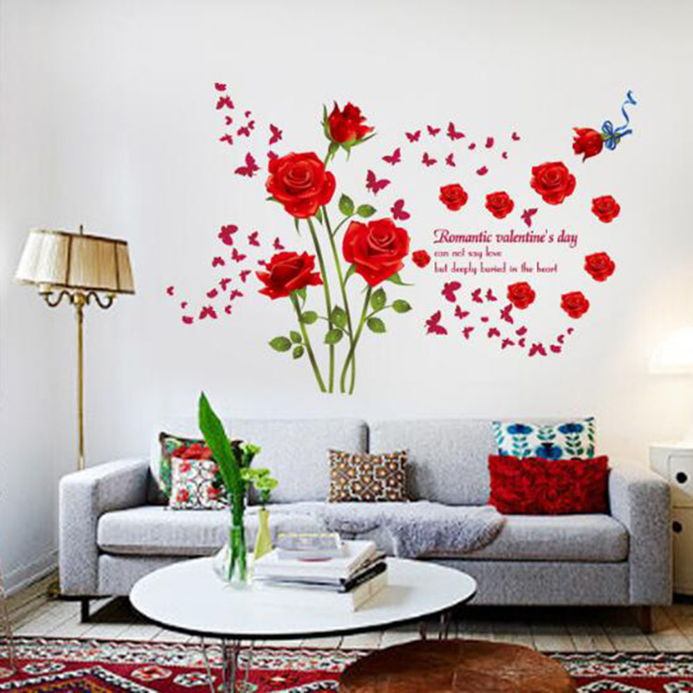 Red/Blue Roses Wall Stickers Living Room Couple Bedroom Sofa Background Home Decoration Art Decals Flowers Murals