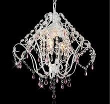 Modern Led Crystal Lampshade Pendant Lights Princess Lustres De Cristal E27 Crystal Hanglamp Children Room Pendant Lamp Fixtures