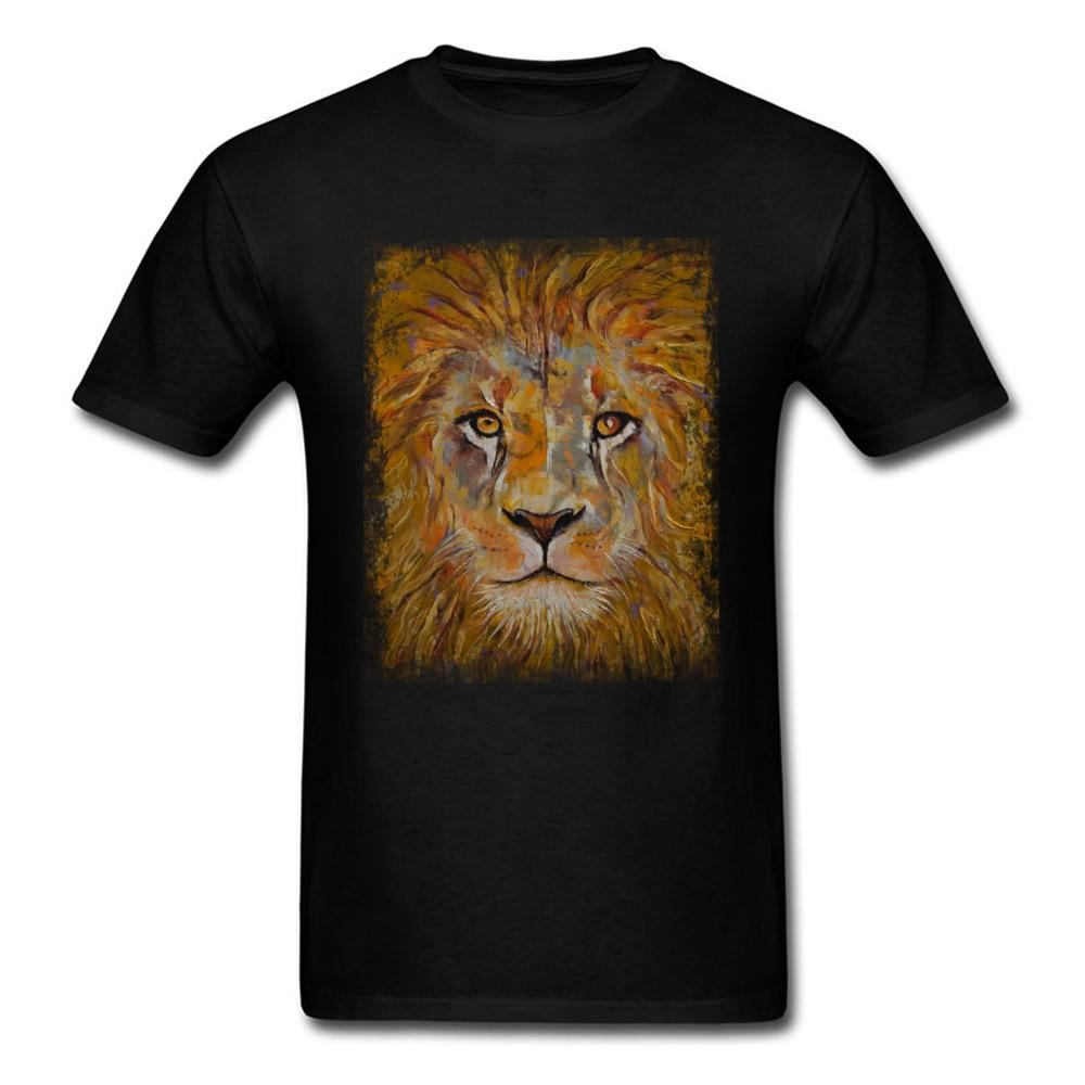 2019 Black King Lion Tshirt Print Men Tee T Shirt Fashion Top T-shirts O Neck Short Sleeve Cotton Summer Clothes White Wholesale T-shirts