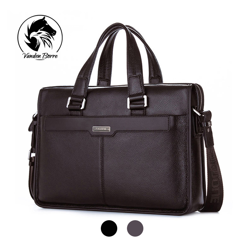 ФОТО Brand P.kuone men briefcase genuine leather business bag 14