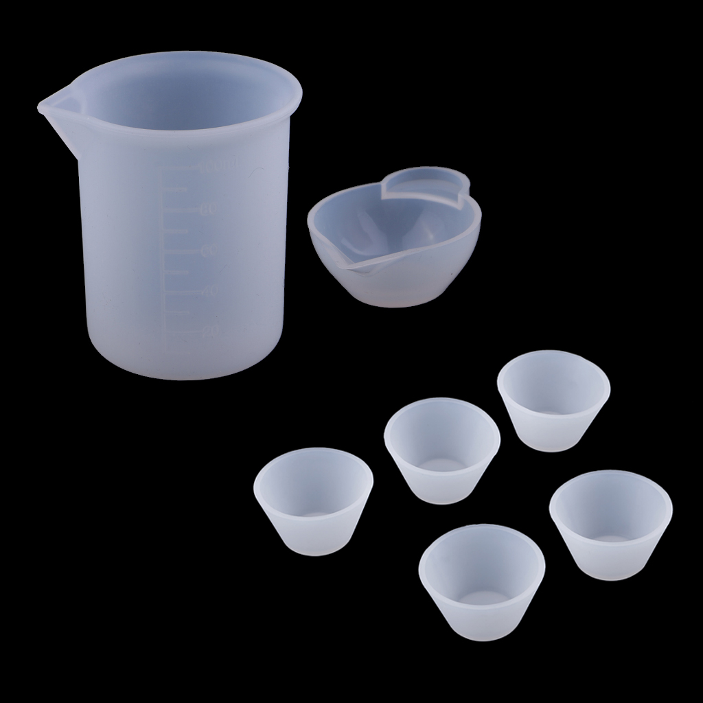 Assorted Clear Silicone Reusable Mixing Measuring Cups Liquid Epoxy Resin Distribution Hobby Casting Jewelry Making DIY Tools