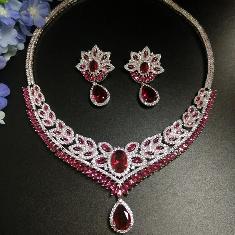 New Luxury Red Water Drop Cubic Zirconia Jewelry Set For Bride Flower Shape Necklace Set Wedding