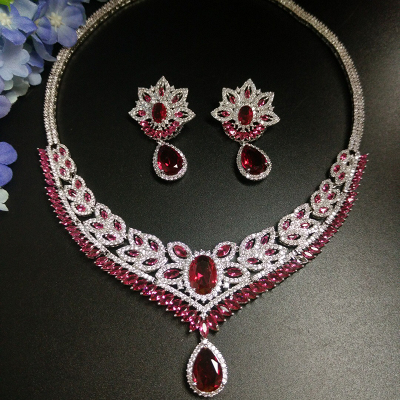 New Luxury Red Water Drop Cubic Zirconia Jewelry Set For Bride Flower Shape Necklace Set Wedding Accessories Wholesale