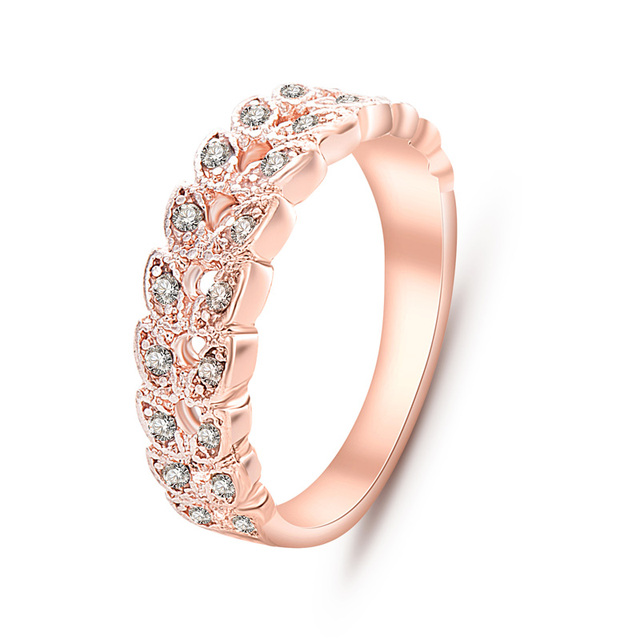 Top Quality Gold Concise Classical CZ Crystal Wedding Ring Rose Gold Color Austrian Crystals Wholesale  nj92