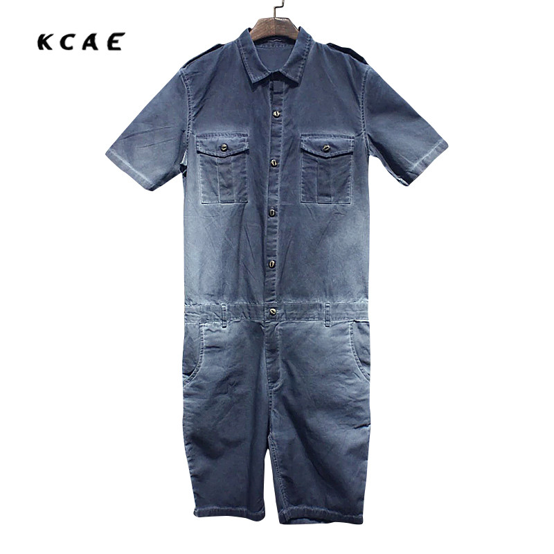 2017 New Summer Mens Jumpsuit Overalls Jeans Fashion Hiphop Short Sleeve A Piece Trousers Mens Casual Denim Jumpsuit denim overalls male suspenders front pockets men s ripped jeans casual hole blue bib jeans boyfriend jeans jumpsuit or04
