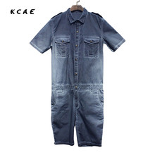 2017 New Summer Mens Jumpsuit Overalls Jeans Fashion Hiphop Short Sleeve A Piece Trousers Mens Casual Denim Jumpsuit