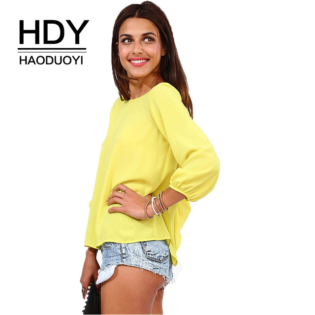 HDY Haoduoyi 2018 New Loose Slod Back Bow Tie Chiffon Blouses Sexy Backless 3 Quarter Sleeve O Neck Tops For Female