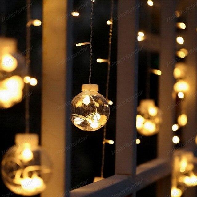 Weihnachtsbeleuchtung Kranz.Us 17 99 Led Weihnachtsbeleuchtung Innen Vorhang Fairy String Licht Hochzeit Dekoration Kranz Runde Ball Blink Pisca Eu 220 V 2 8 Mt 120 Leds In Led