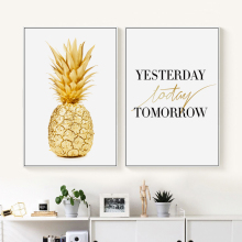 Bianche Wall Gold Pineapple English Phrases Simple Canvas Painting Art Print Poster Picture Home Decoration