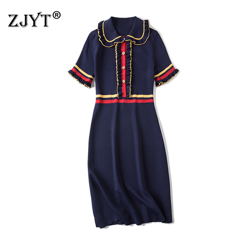 Fashion Summer Designer Runway Dress 2019 New Women Clothes Short Sleeve Ruffles Contrast Color Knitted Sweater