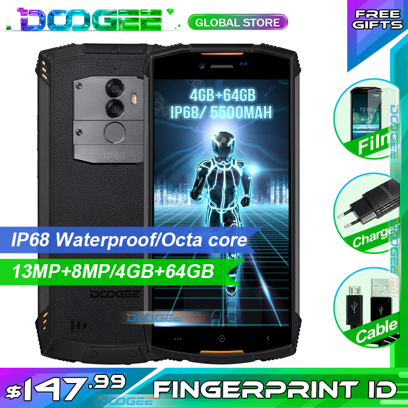 Fast shipping on DOOGEE S55 5.5 inch 18:9 IP68 Waterpoof Dustproof Smartphone MTK6750T 5500mAh 4GB 64GB Mobile phone-in Cellphones from Cellphones & Telecommunications    1