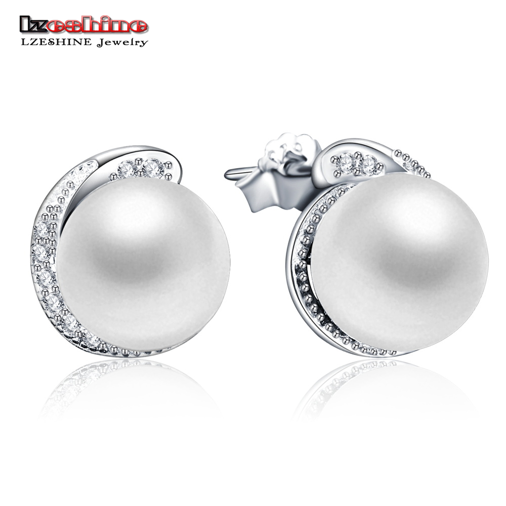 LZESHINE Pearl Jewelry Natural Pearl Earrings 925 Sterling Silver Freshwater Pearl Stud Earring For Women Party Gifts PSER0087-B daimi 9 9 5mm natural white freshwater pearl earrings 925 silver pearl big earrings luxury style for women christmas gifts