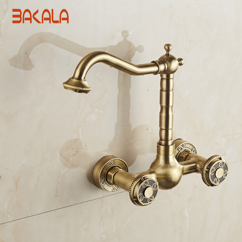 BAKALA Wall Mounted Two Handles Antique Brass Finish Kitchen Sink Bathroom basin Faucet mixer tap  BR-10707 bakala free shipping bathroom basin sink faucet wall mounted square chrome brass mixer tap with embedded box lt 320r