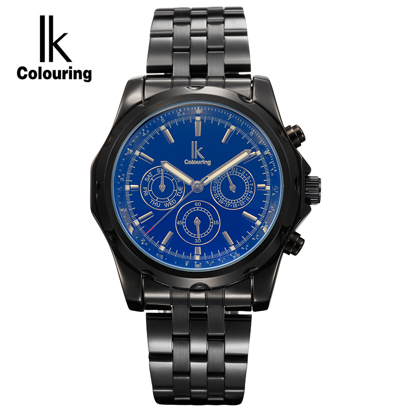 IK Colouring Luxury Week Date Sub Dials Business Automatic Mechanical Watches Stainless Steel Sports Men Watch Clock Hours ik colouring automatic mechanical watch decorative small dials luminous pointer hollow back case stainless steel men wristwatch