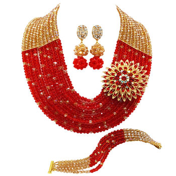 Fashion Gold AB Red African Beads Nigerian Wedding Jewelry Sets Crystal Multistrands Necklace for Women 10C-SZ006