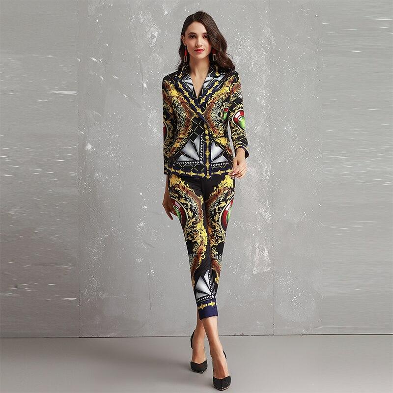 Veau Vintage Vestes Mince Collar Ensembles 2018 Jolie Haute Costumes Pantalon Imprimer Automne Pièces 2 longueur Turn Femmes Qualité down Fw6xCzqw
