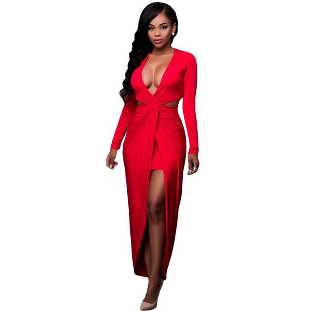 c2237b6daedb2 US $29.83 |Red Cut Out Drape Slit Long Sleeve Maxi Dress Women's Drapped  High Cut Out Sexy Party Dress Full Sleeved Wrapped Dress Vestidos-in  Dresses ...