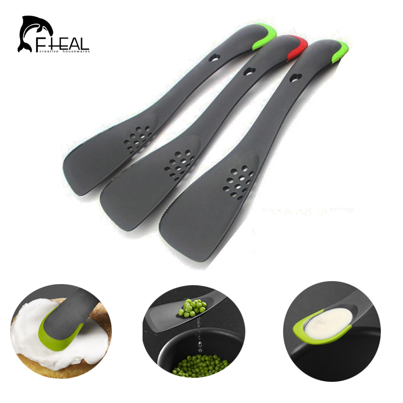 FHEAL Multi-function Cooking Tools Nylon Turner Spatula With Serrated Divider Skimmer Slotted Spoon Scoop Kitchen Utensils
