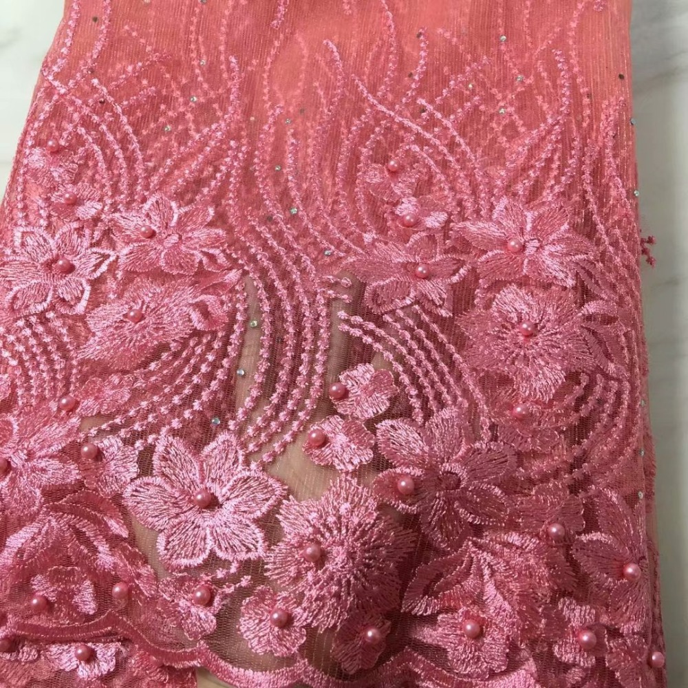 High Quality African Lace Fabric Net 2018 French Lace Fabric Tulle With pearl Fuchsia Pink Nigerian Lace Fabric For Wedding
