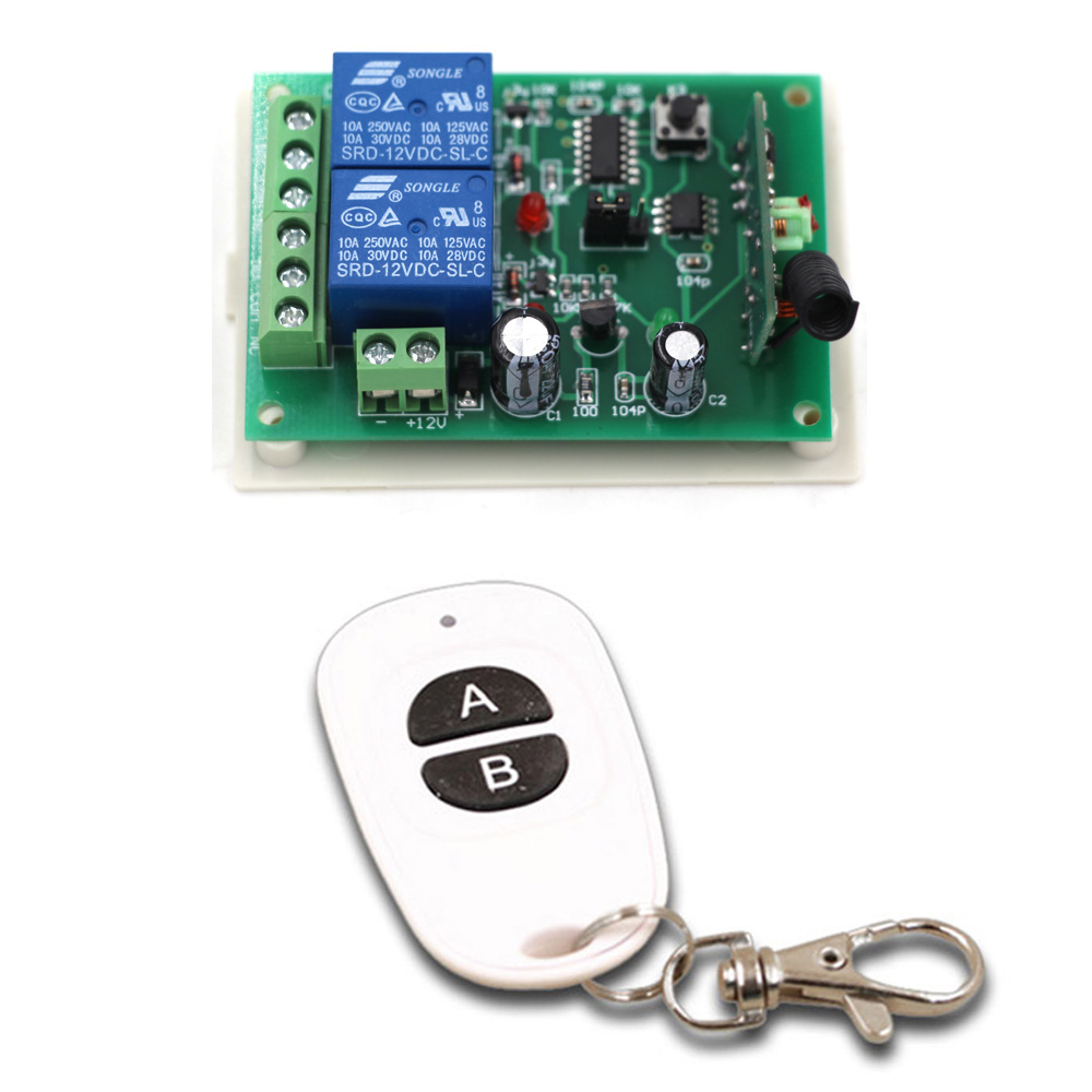 DC12V 24V 2CH RF Wireless Mini Switch Relay Receiver Remote Controllers & White AB Keys Waterproof Transmitter Toggle Momentary 315 433mhz 12v 2ch remote control light on off switch 3transmitter 1receiver momentary toggle latched with relay indicator