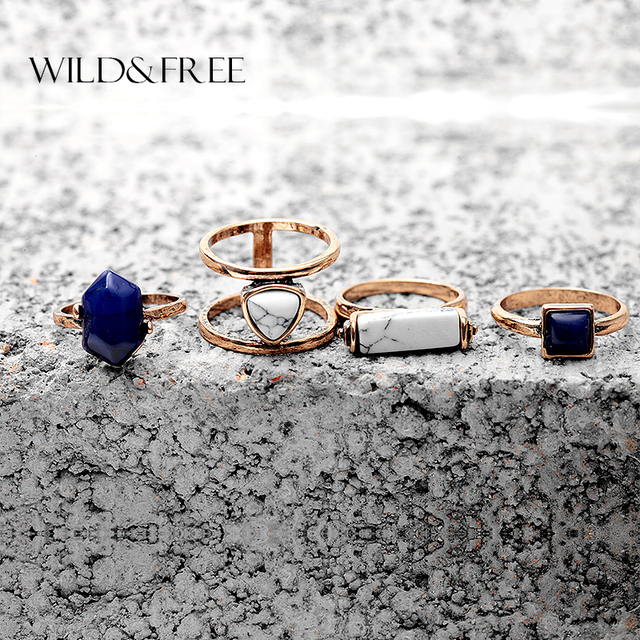 Women 4 PCS Vintage Simulated Stone Finger Ring Set Antique Gold Silver Hollow O