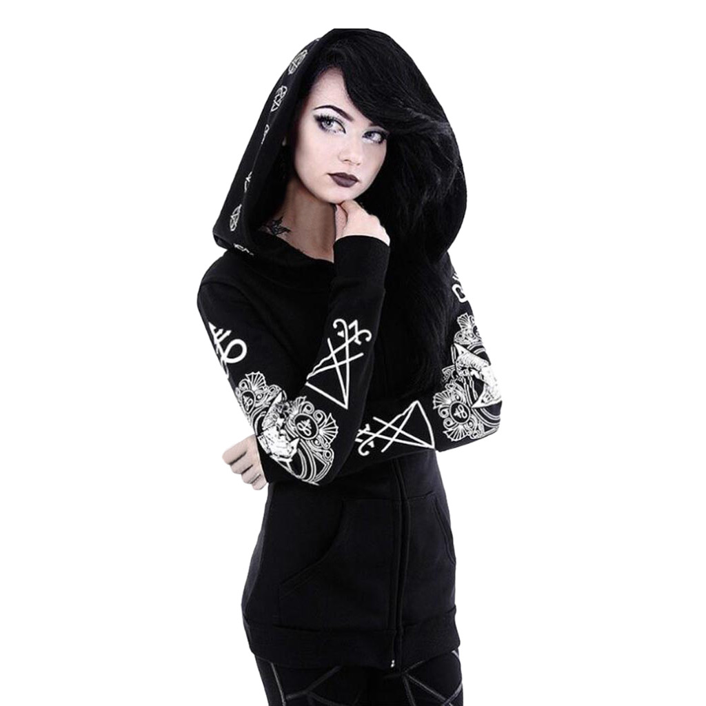 Black Punk Style Print Zipper Hooides Hoop Long Sleeve Large Size 2019 Autumn Pocket Women Jacket Hoodies #YL5