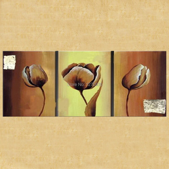Factory Price Hign Quality Dafen Wholesale Skilled Artists Hand Painted 3 Panels Coffe Tulip Oil Painting on Cannvas