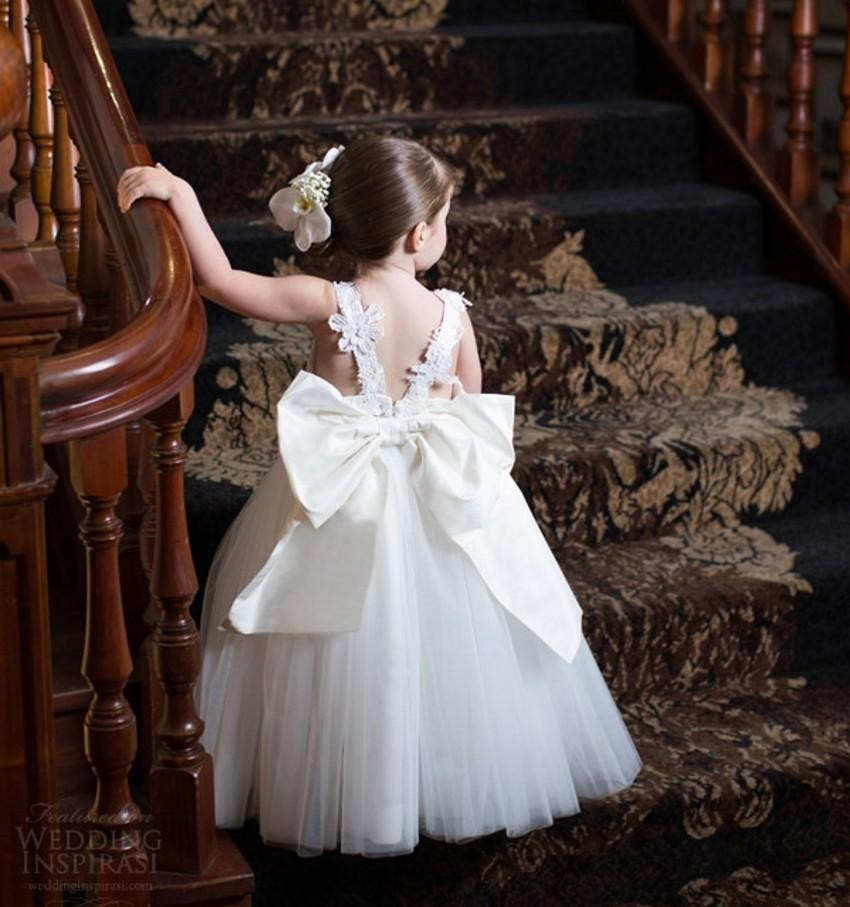 white Ivory Lace   Flower     Girl     Dresses   2016 Couture Baby Ball Gown Toddler Princess Children Attendant Bridal Party Bow Sash Back