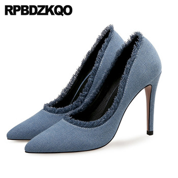 exotic dancer denim pointed toe pumps stiletto 11 43 low heels ladies mid shoes high 10 42 ultra extreme 8cm designer big size