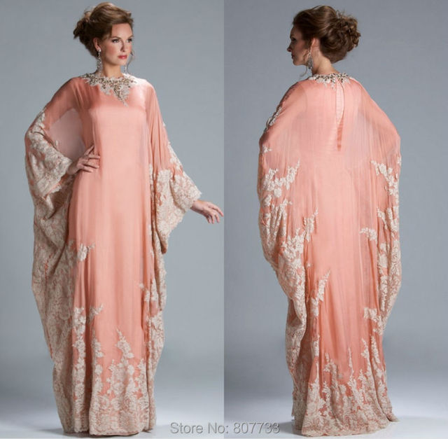 W099 Gorgeous Mother Of The Bride Fashion Women Peach Color Chiffon Lace Liqued Long Sleeve