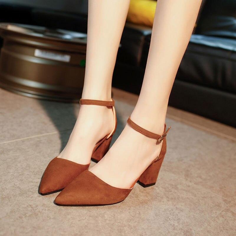e52dfec076dc Summer sandals women shoes female fashion buckle heel pumps comfortable  elegant summer shoes woman high heels sandals-in Middle Heels from Shoes on  ...