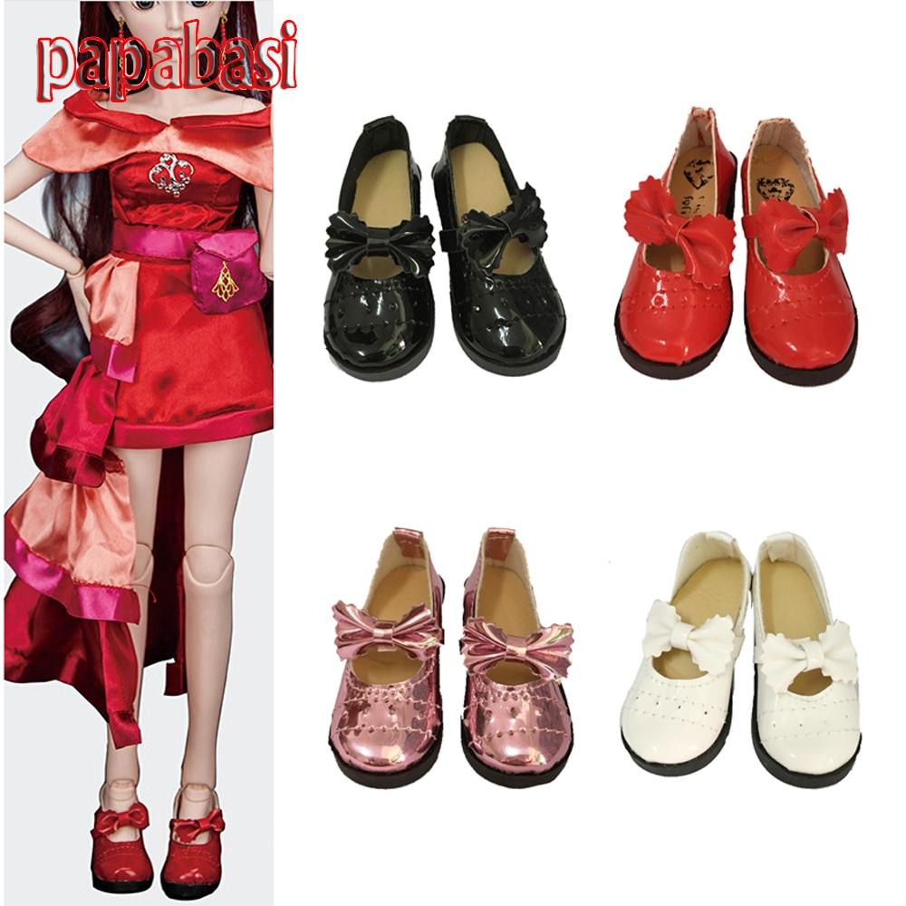 Papabasi 7.8cm 1/3 Dolls Fashion PU Läderskor passar 16 tums 43cm docka för 60cm BJD SD nakendukar