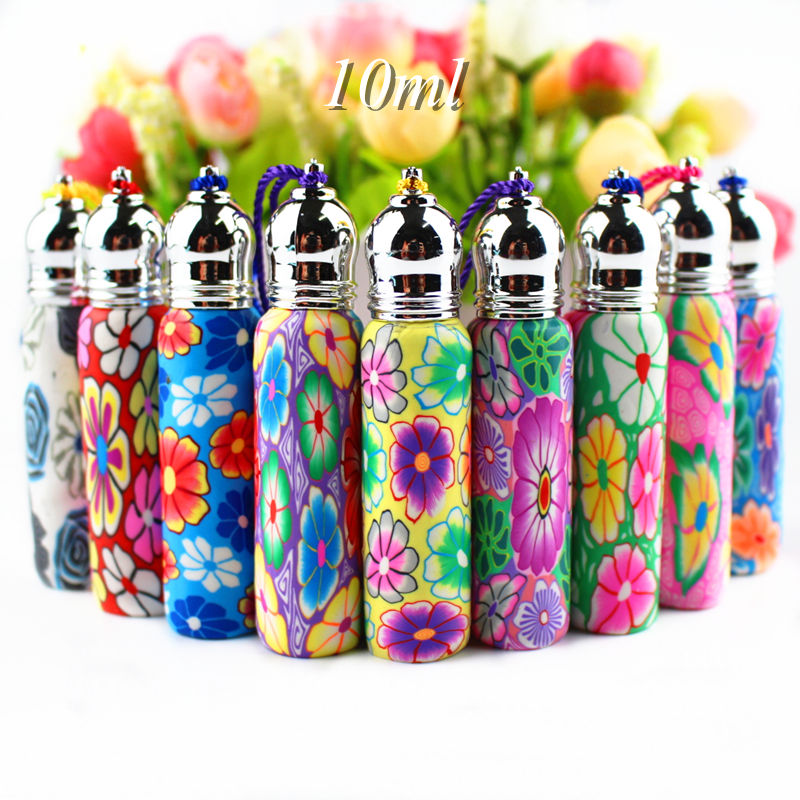 50pcs lot Lovely 10ml Glass Roll On Bottles Polymer Clay Roller Essential Oil Bottle Empty Perfume