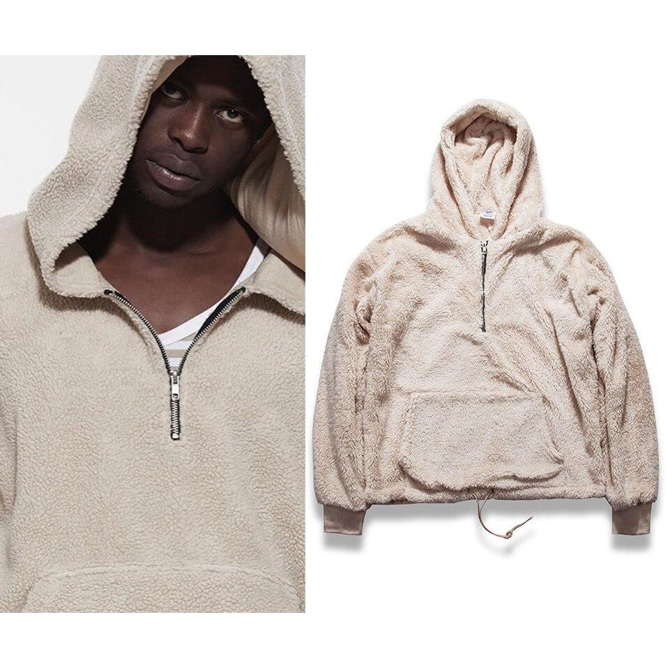 Herren Hälfte Reißverschluss Pullover Fleece Sherpa Hoodies Männer Streetwear Kühlen Kanye West Mode Hiphop Städtischen Kleidung Justin Biebers Tyga