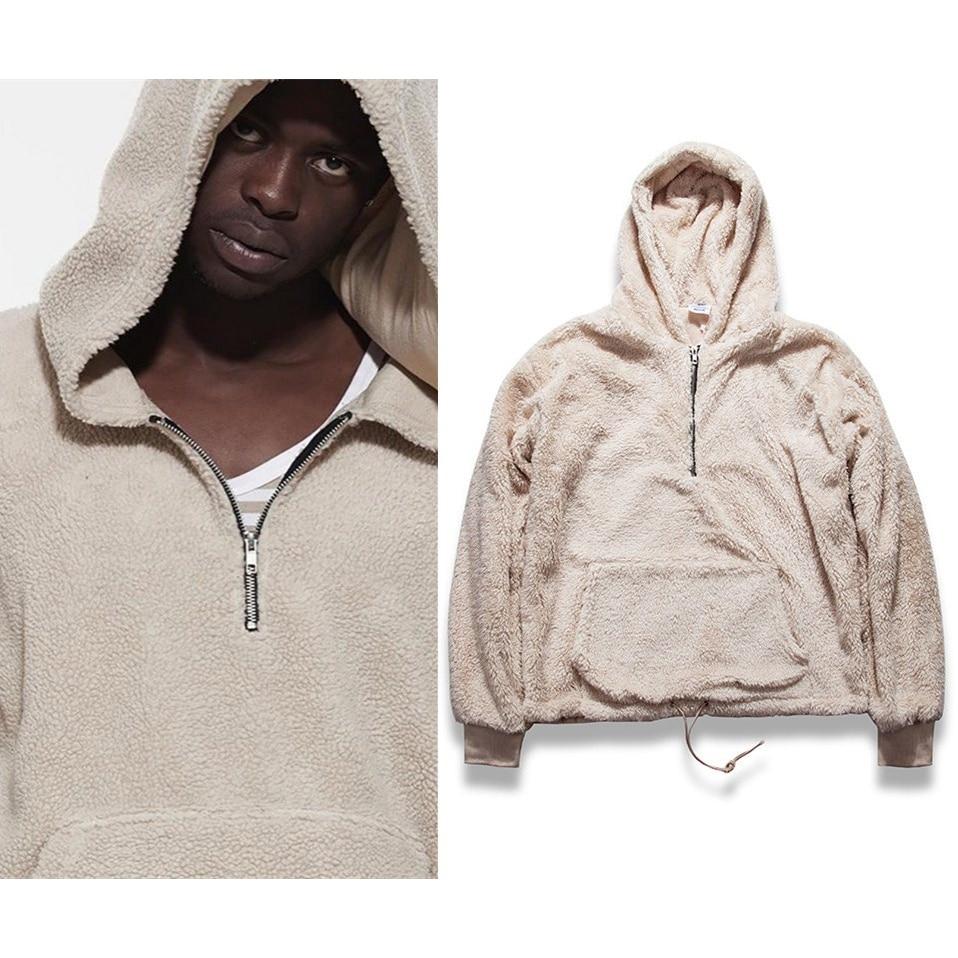 Sherpa Mens Hoodies Hip Hop Half Zipper Pullover Hoodies Beige Black Winter Kanye West Streetwear Men Long Sleeve Sweatshirt