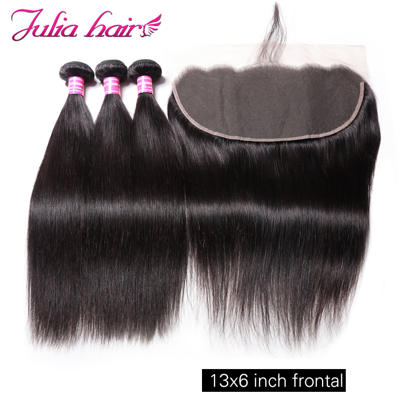 Ali Julia Hair Straight Hair Bundles With Frontal 13 6 Inch Swiss Lace Brazilian Remy Human