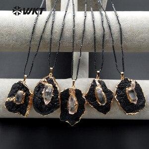 Image 1 - WT N1088 WKT Colgante de turmalina negra con forma única, collar de piedra Natural para mujer, collar misterioso de decoración