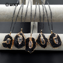 WT N1088 WKT New Arrivals Natural Unique Shape Black Tourmaline Stone Pendant Necklace For Women Decoration Mysterious Necklace