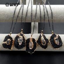 WT N1088 WKT New Arrivals Única Forma Natural Turmalina Negra Colar de Pingente de Pedra Para As Mulheres Decoração Colar Misterioso