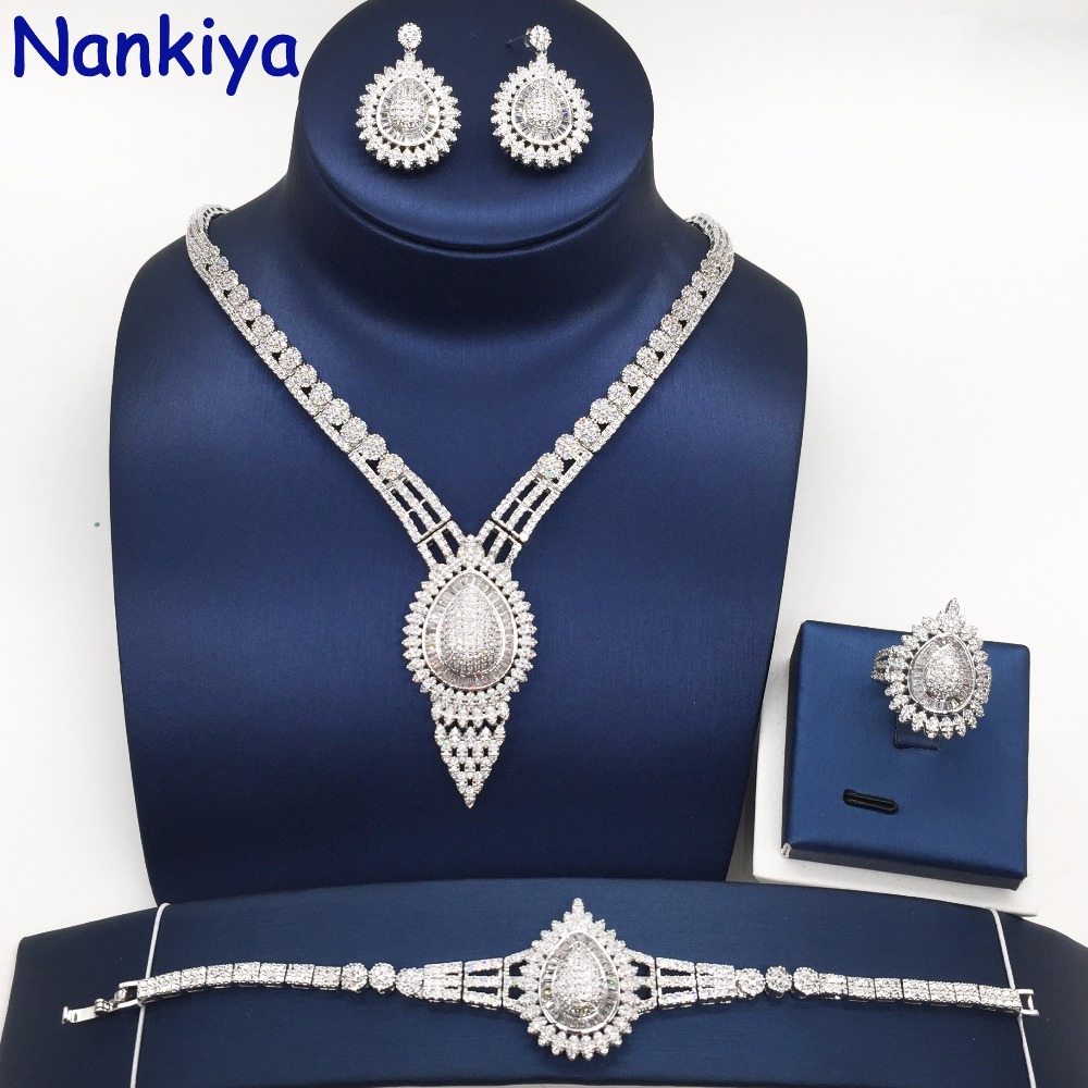 Nankiya New Brilliant Micro Paved Cubic Zircon Wedding Jewelry Set Water-drop Leaf Shape Jewelry Set Sliver Gold For Lady NC279Nankiya New Brilliant Micro Paved Cubic Zircon Wedding Jewelry Set Water-drop Leaf Shape Jewelry Set Sliver Gold For Lady NC279
