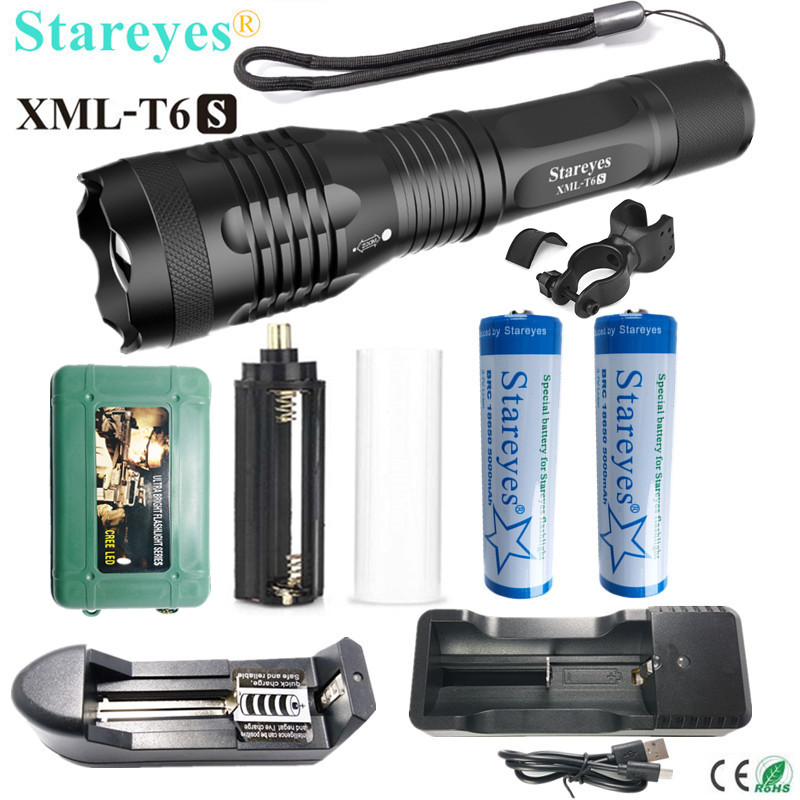 The newest version Ultra Bright XML-T6S 4000LM LED Torch Zoomable LED Flashlight+18650 5000mAh Rechargeable battery+Charger ultra bright tactical flashlight usb rechargeable 26650 16340 battery xml t6 led torch for camping security emergency use