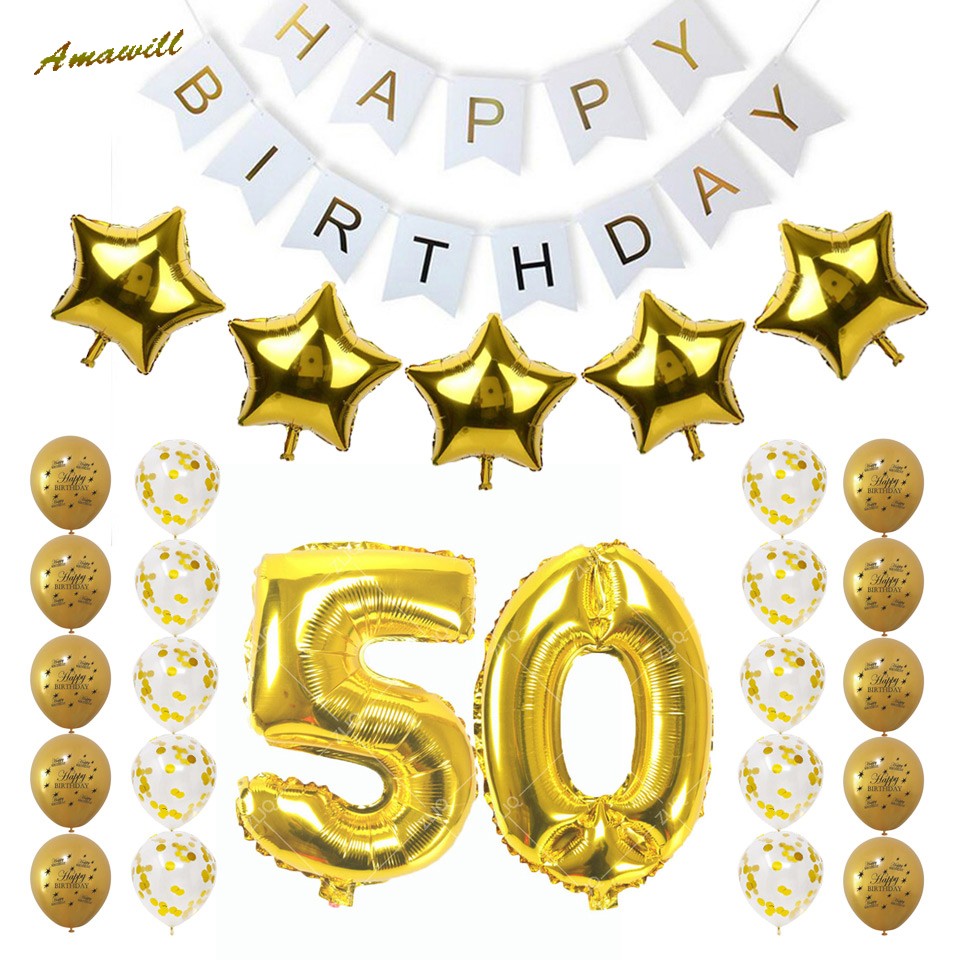 Amawill 50th Birthday Party Decoration Adults Set Gold 50 Confetti Latex Balloon Happy Banner Men Women Favors 75D Christmas Gift Ideas