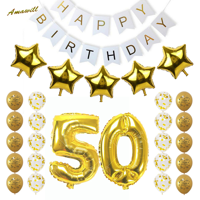 Amawill 50th Birthday Party Decoration Adults Set Gold 50 Confetti Latex Balloon Happy Banner Men