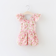 New 2016 Baby Girl Print Floral One-pieces Kids girls ruffle Cotton Jumpsuits Babies Summer Princess Romper Children's Clothing