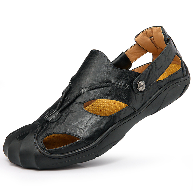 Summer Men Sandals 2017 Genuine Leather Cowhide Handmade Outdoor Slide Sandals Sandalias Hombre Breathable Native Beach Shoes